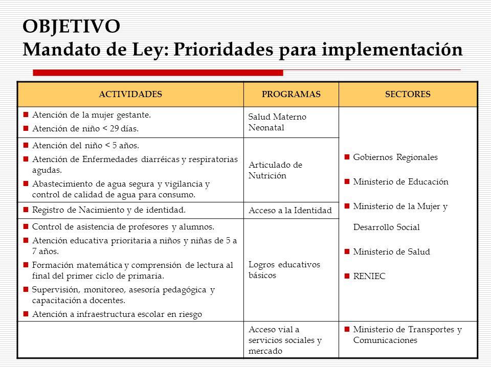 OBJETIVO Mandato de Ley: Prioridades para implementación