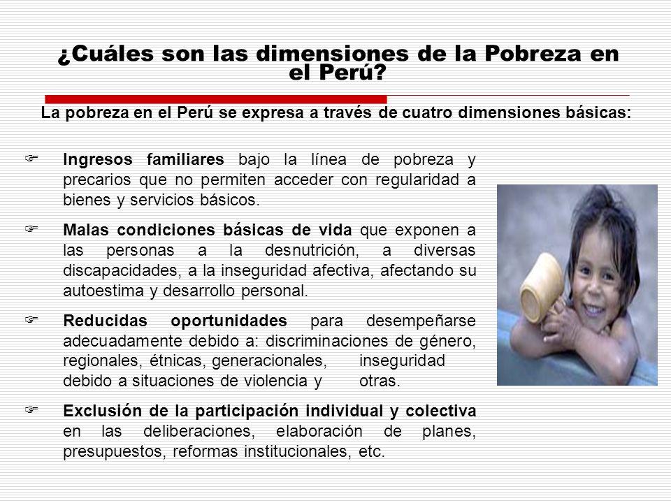 ¿Cuáles son las dimensiones de la Pobreza en el Perú
