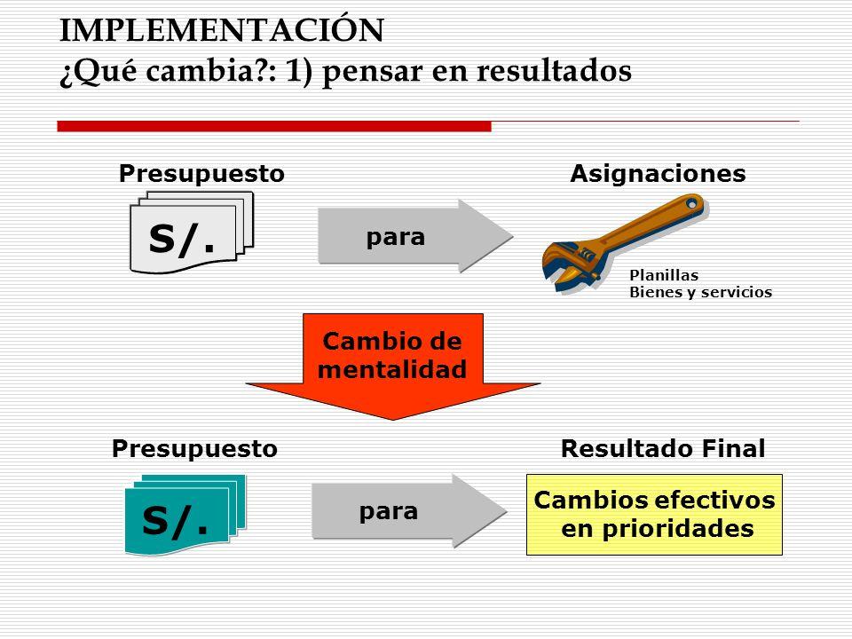 S/. S/. IMPLEMENTACIÓN ¿Qué cambia : 1) pensar en resultados