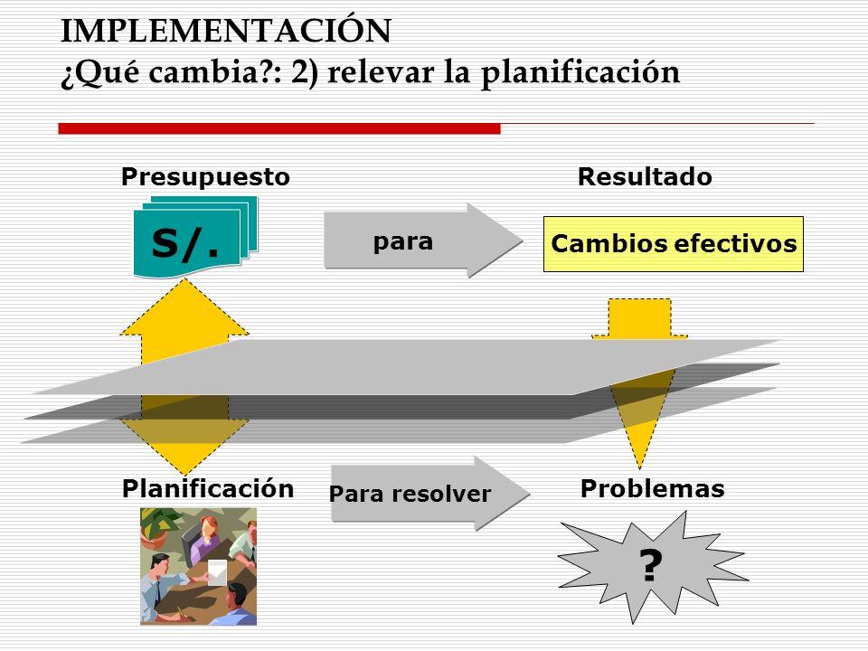 S/. IMPLEMENTACIÓN ¿Qué cambia : 2) relevar la planificación