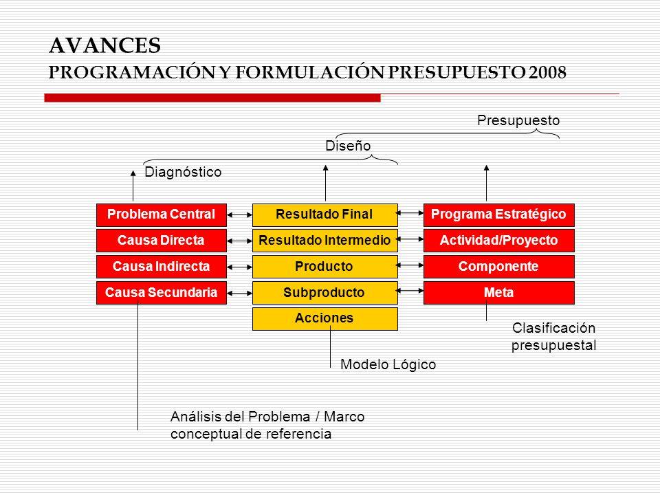 AVANCES PROGRAMACIÓN Y FORMULACIÓN PRESUPUESTO 2008