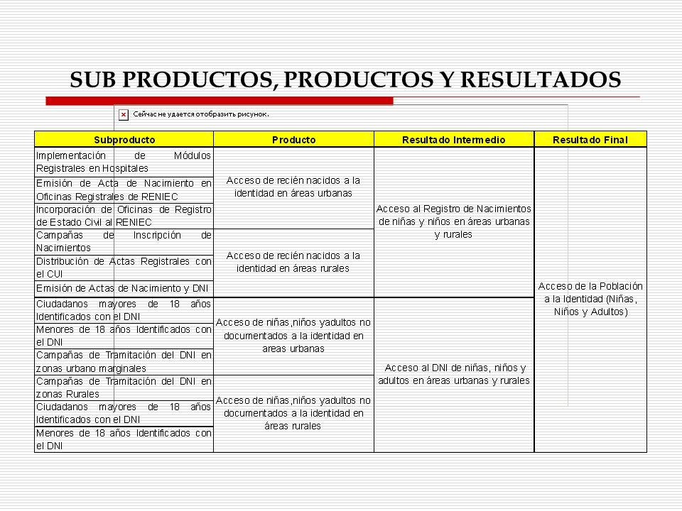 SUB PRODUCTOS, PRODUCTOS Y RESULTADOS
