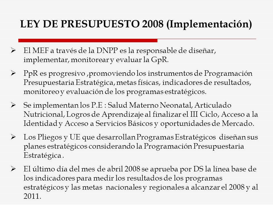 LEY DE PRESUPUESTO 2008 (Implementación)