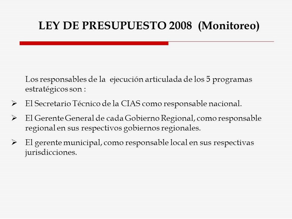 LEY DE PRESUPUESTO 2008 (Monitoreo)