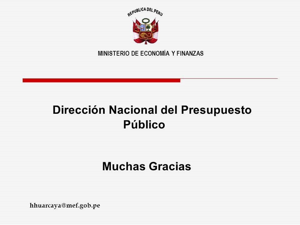 Dirección Nacional del Presupuesto Público Muchas Gracias