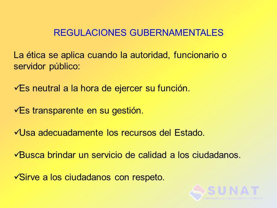 REGULACIONES GUBERNAMENTALES