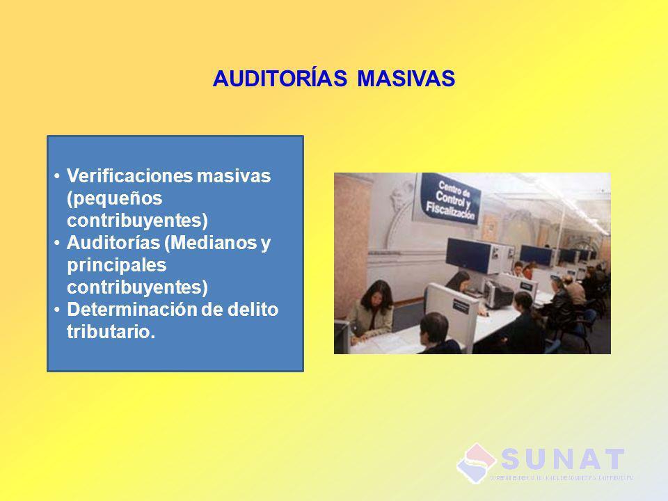 AUDITORÍAS MASIVAS Verificaciones masivas (pequeños contribuyentes)