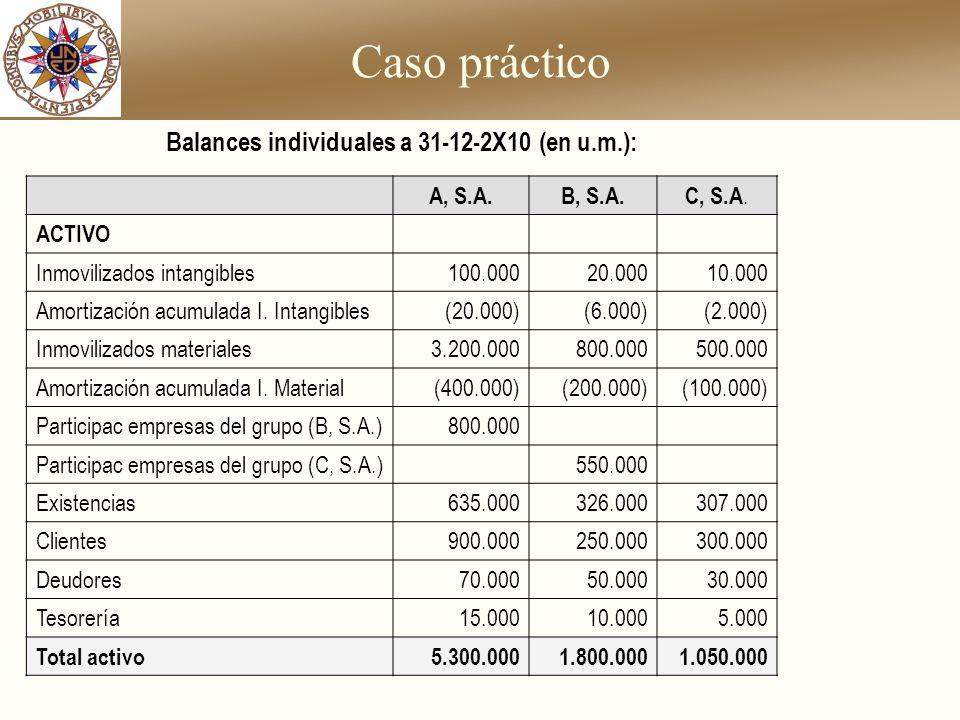 Balances individuales a 31-12-2X10 (en u.m.):