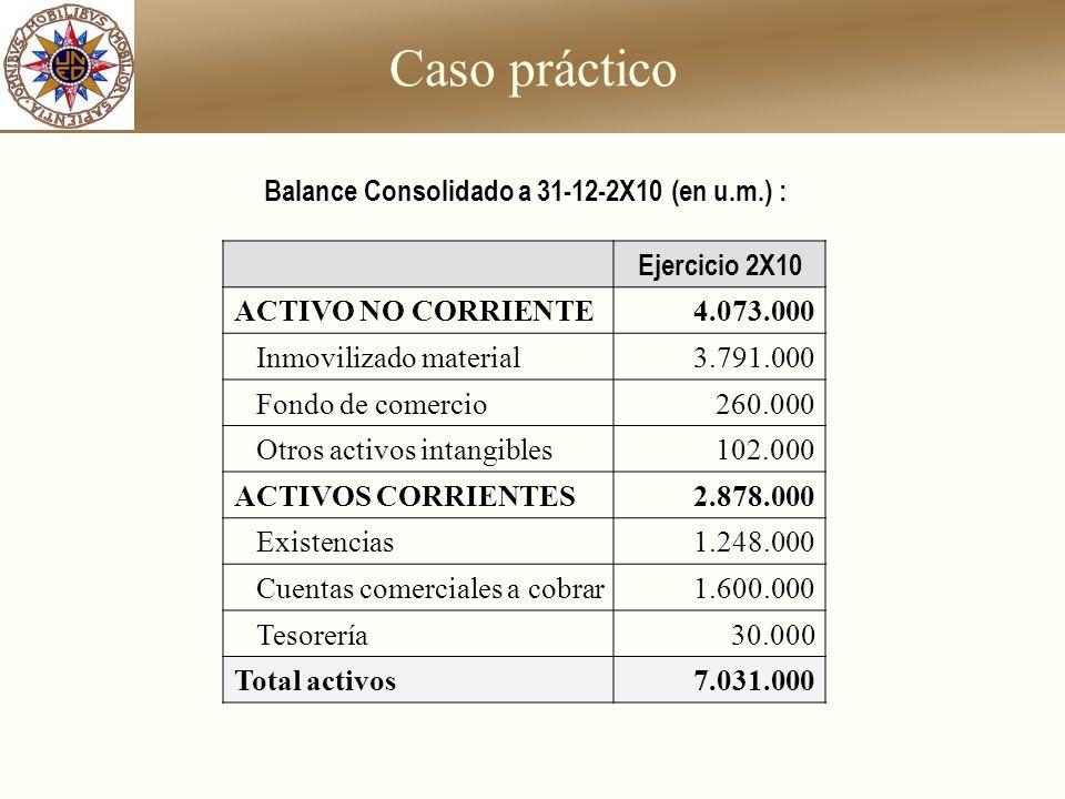 Balance Consolidado a 31-12-2X10 (en u.m.) :