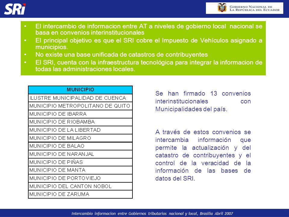 El intercambio de informacion entre AT a niveles de gobierno local nacional se basa en convenios interinstitucionales