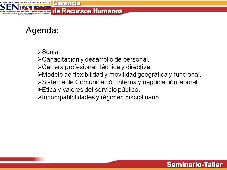 Agenda: Seniat. Capacitación y desarrollo de personal.