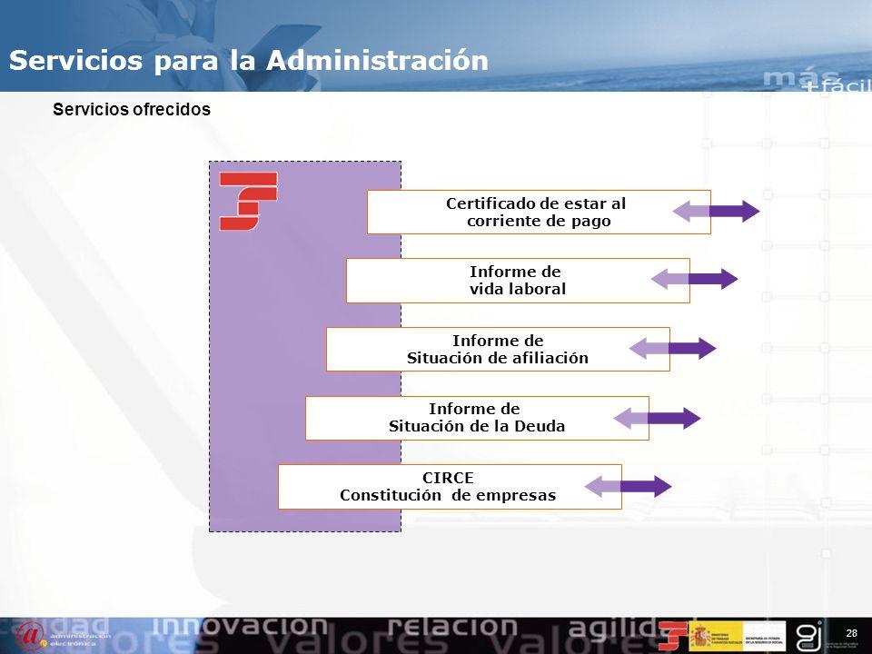 Servicios para la Administración