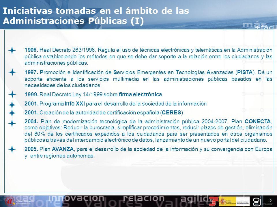 Iniciativas tomadas en el ámbito de las Administraciones Públicas (I)