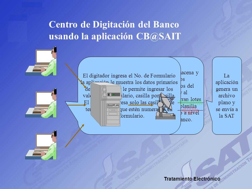 Centro de Digitación del Banco usando la aplicación CB@SAIT