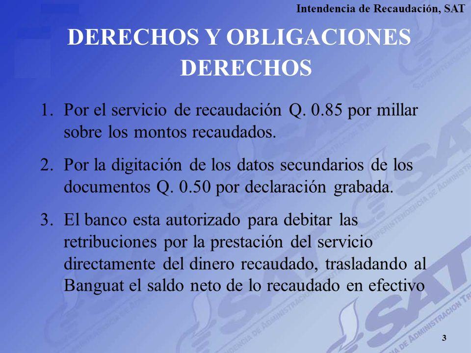 Intendencia de Recaudación, SAT DERECHOS Y OBLIGACIONES