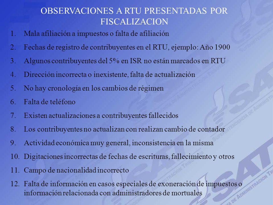 OBSERVACIONES A RTU PRESENTADAS POR FISCALIZACION