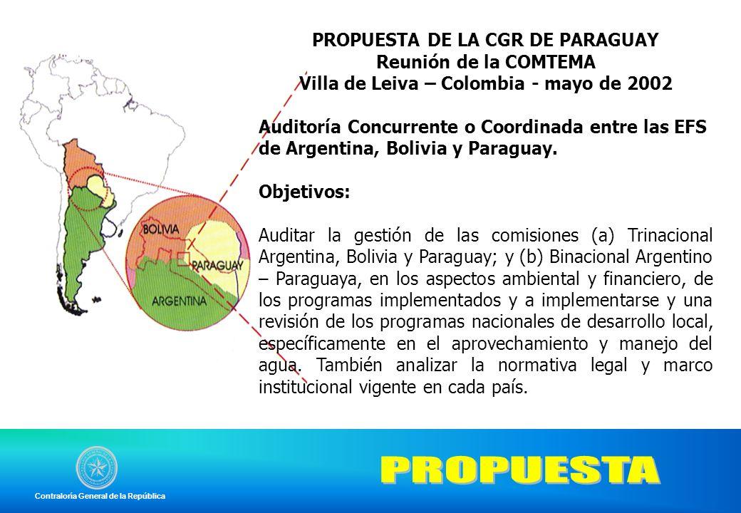 PROPUESTA PROPUESTA DE LA CGR DE PARAGUAY Reunión de la COMTEMA