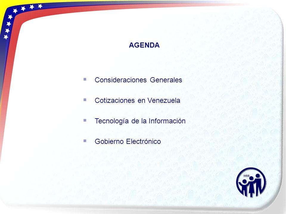 AGENDA Consideraciones Generales. Cotizaciones en Venezuela.