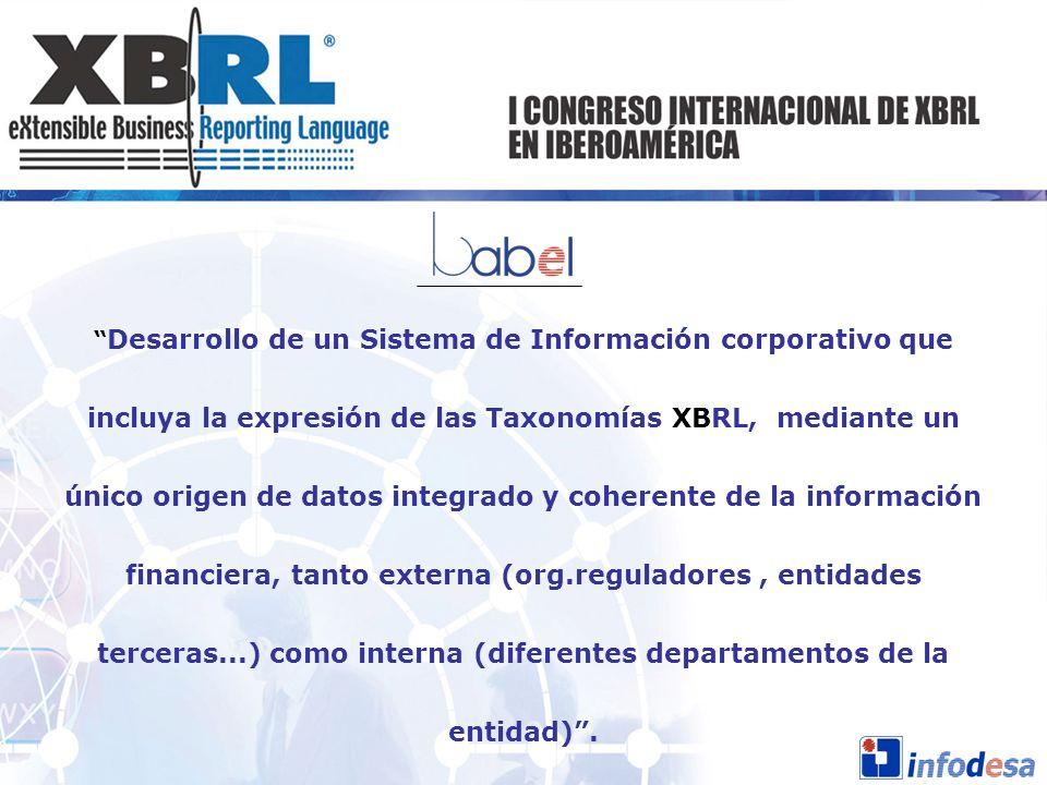 Desarrollo de un Sistema de Información corporativo que incluya la expresión de las Taxonomías XBRL, mediante un único origen de datos integrado y coherente de la información financiera, tanto externa (org.reguladores , entidades terceras...) como interna (diferentes departamentos de la entidad) .