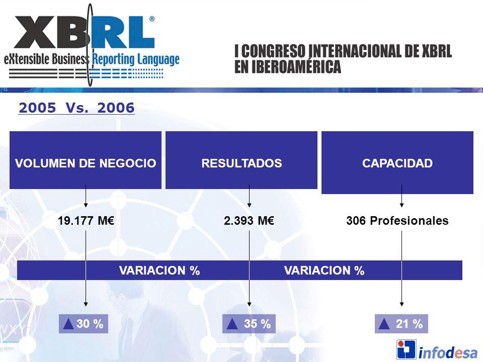 2005 Vs. 2006 VOLUMEN DE NEGOCIO RESULTADOS CAPACIDAD 19.177 M€