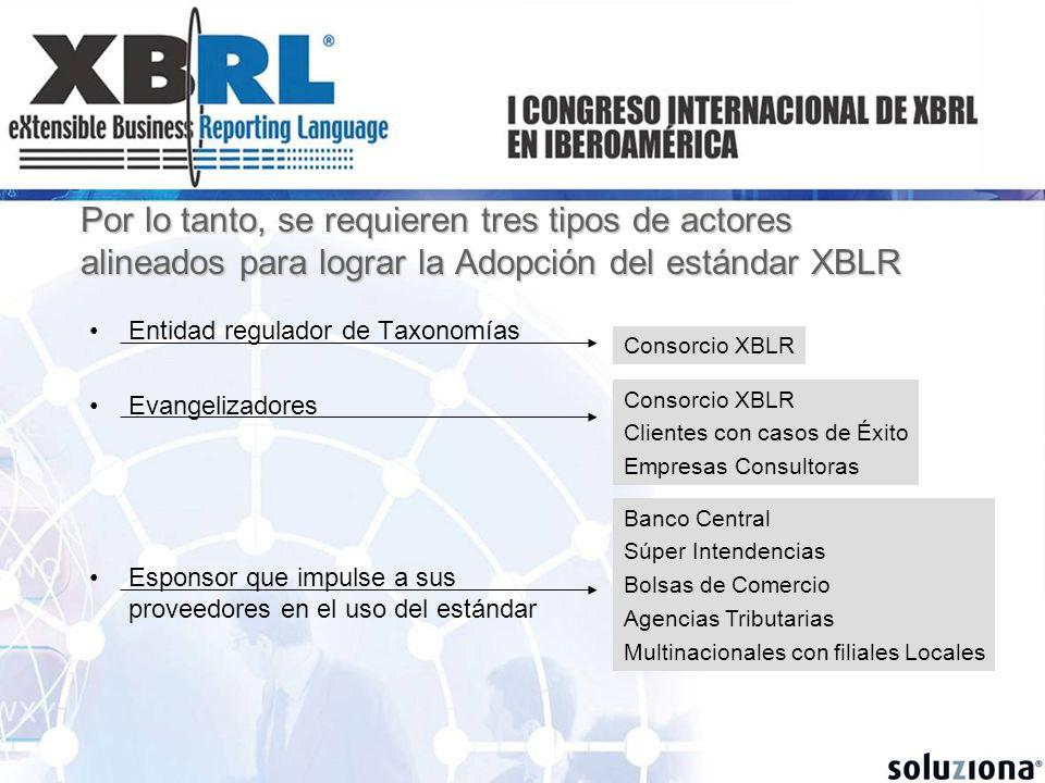 Por lo tanto, se requieren tres tipos de actores alineados para lograr la Adopción del estándar XBLR