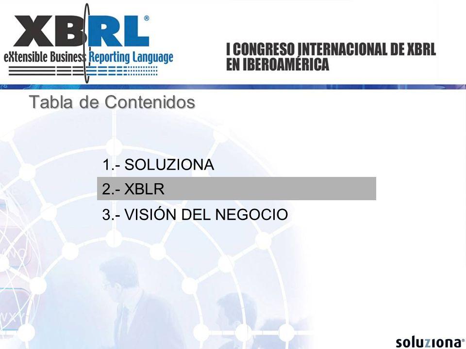 Tabla de Contenidos 1.- SOLUZIONA 2.- XBLR 3.- VISIÓN DEL NEGOCIO