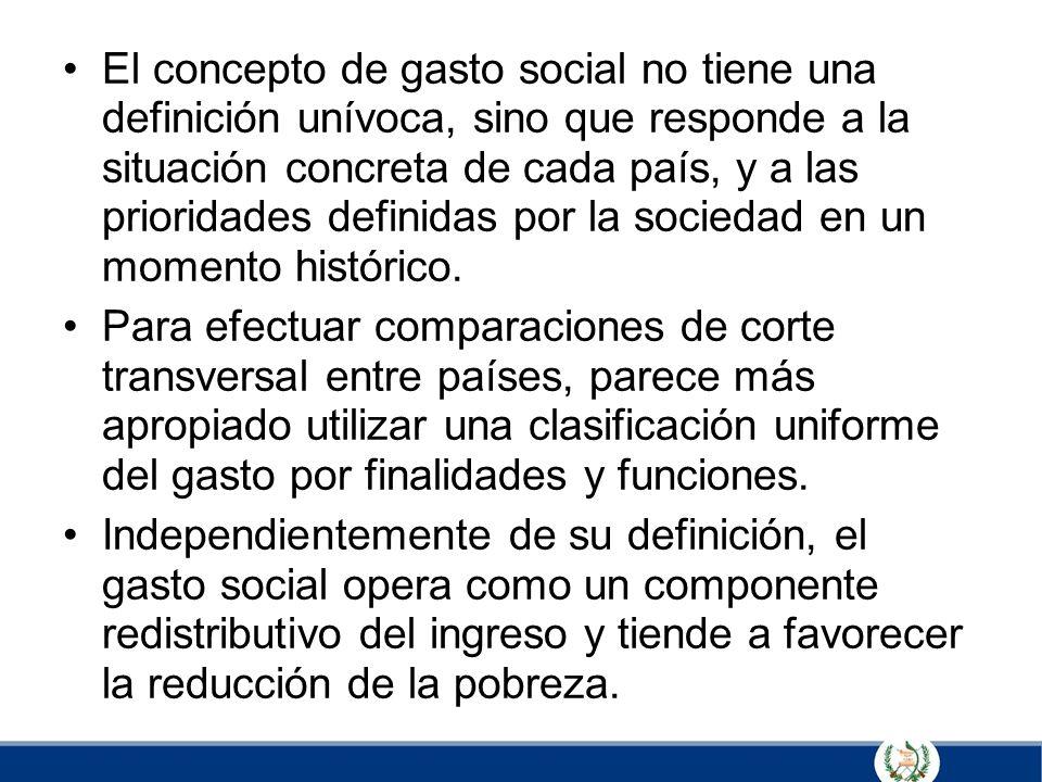 El concepto de gasto social no tiene una definición unívoca, sino que responde a la situación concreta de cada país, y a las prioridades definidas por la sociedad en un momento histórico.