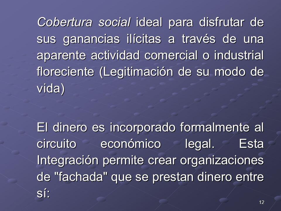 Cobertura social ideal para disfrutar de sus ganancias ilícitas a través de una aparente actividad comercial o industrial floreciente (Legitimación de su modo de vida)