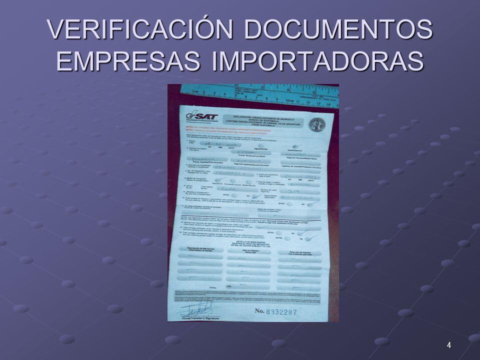 VERIFICACIÓN DOCUMENTOS EMPRESAS IMPORTADORAS