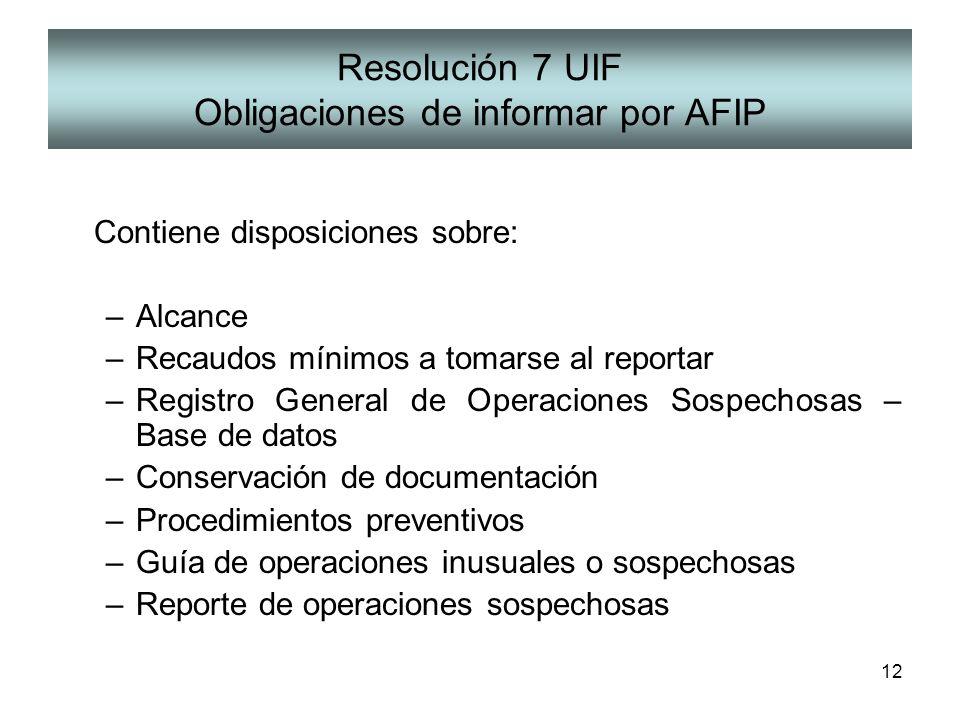 Resolución 7 UIF Obligaciones de informar por AFIP