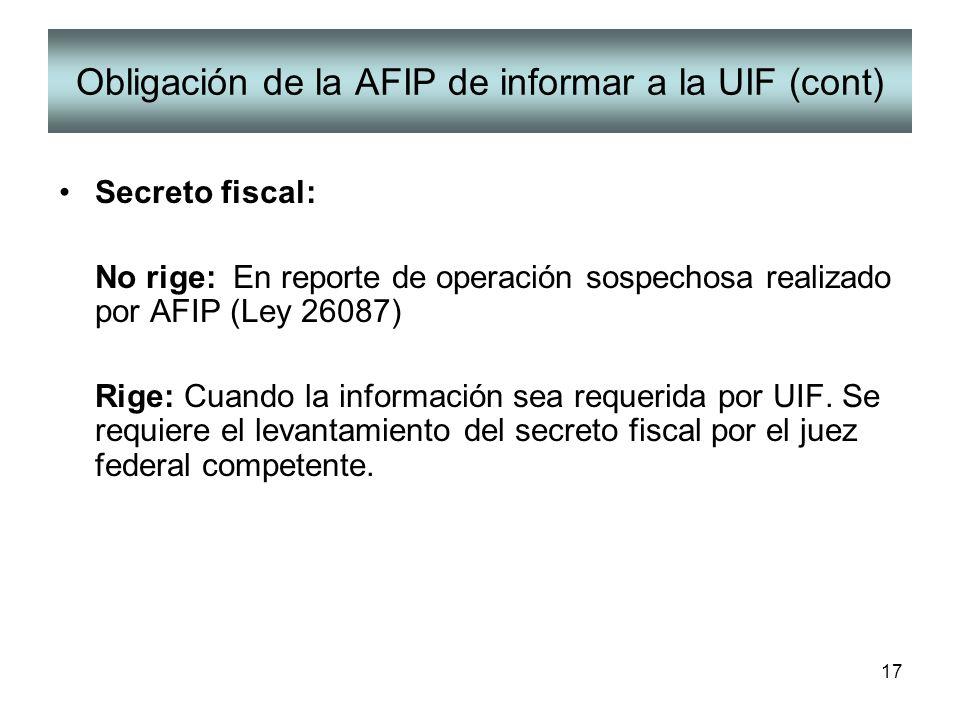 Obligación de la AFIP de informar a la UIF (cont)