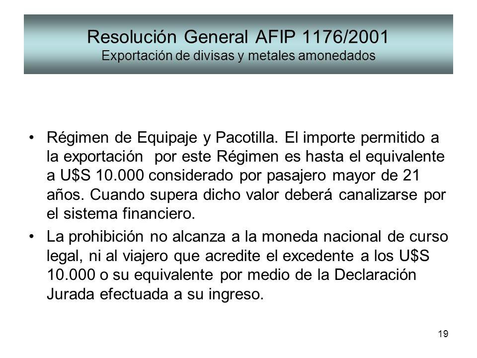 Resolución General AFIP 1176/2001 Exportación de divisas y metales amonedados