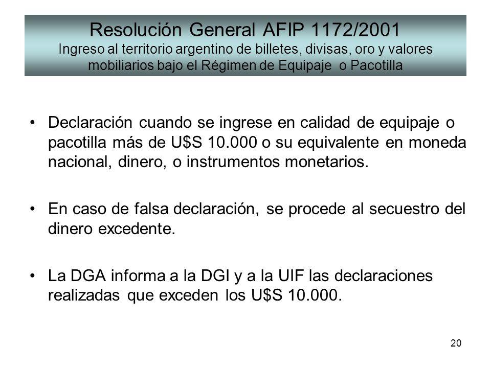 Resolución General AFIP 1172/2001 Ingreso al territorio argentino de billetes, divisas, oro y valores mobiliarios bajo el Régimen de Equipaje o Pacotilla