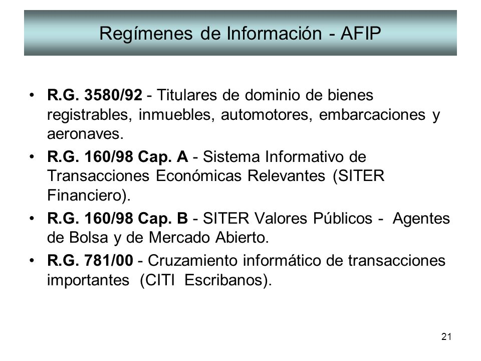 Regímenes de Información - AFIP