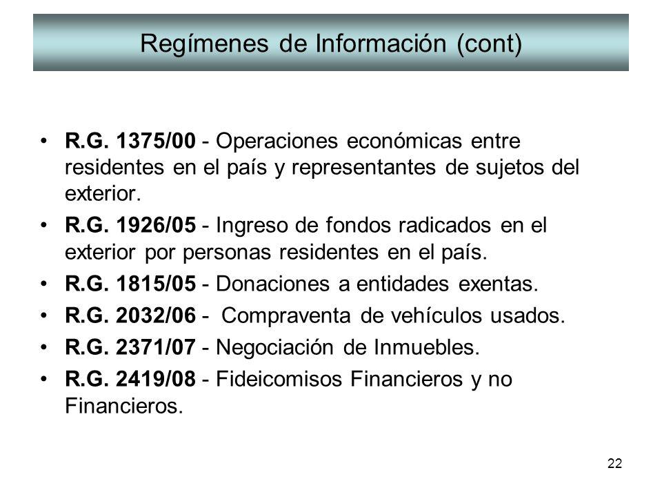 Regímenes de Información (cont)