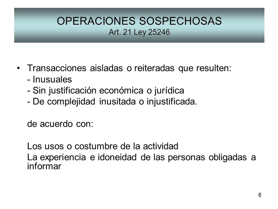 OPERACIONES SOSPECHOSAS Art. 21 Ley 25246