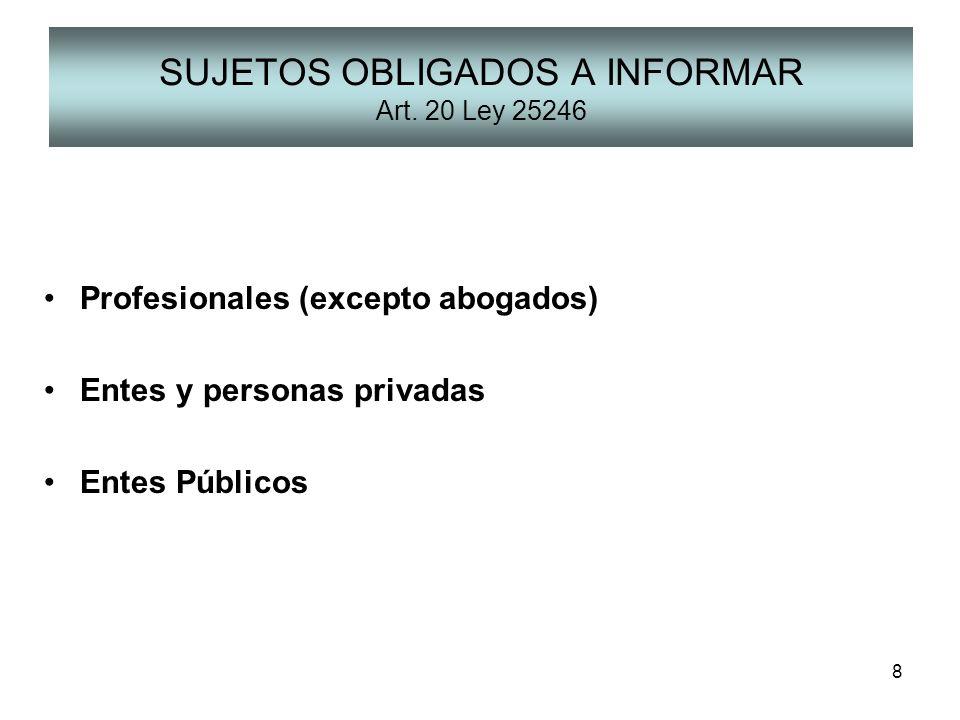 SUJETOS OBLIGADOS A INFORMAR Art. 20 Ley 25246