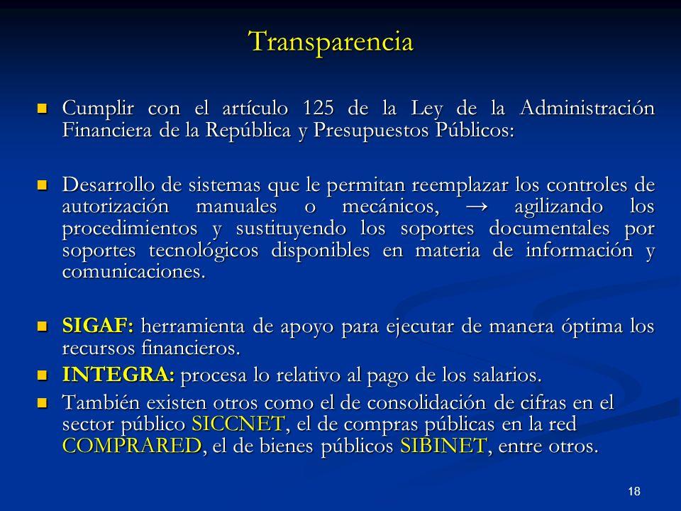 Transparencia Cumplir con el artículo 125 de la Ley de la Administración Financiera de la República y Presupuestos Públicos: