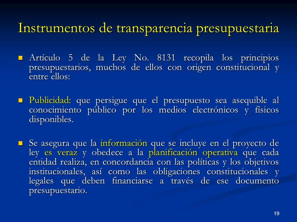 Instrumentos de transparencia presupuestaria