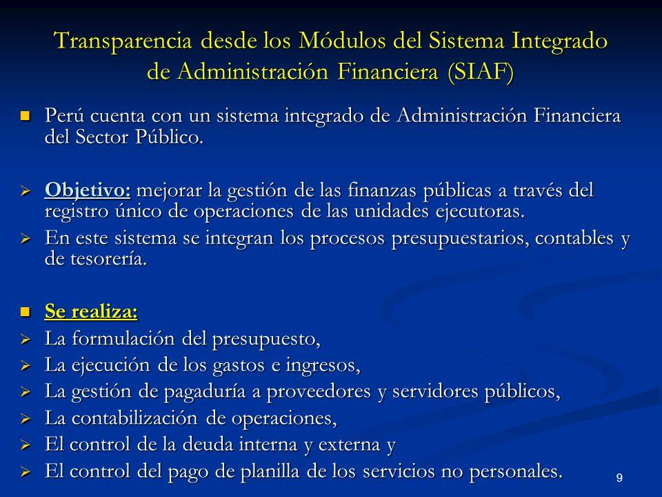 Transparencia desde los Módulos del Sistema Integrado de Administración Financiera (SIAF)