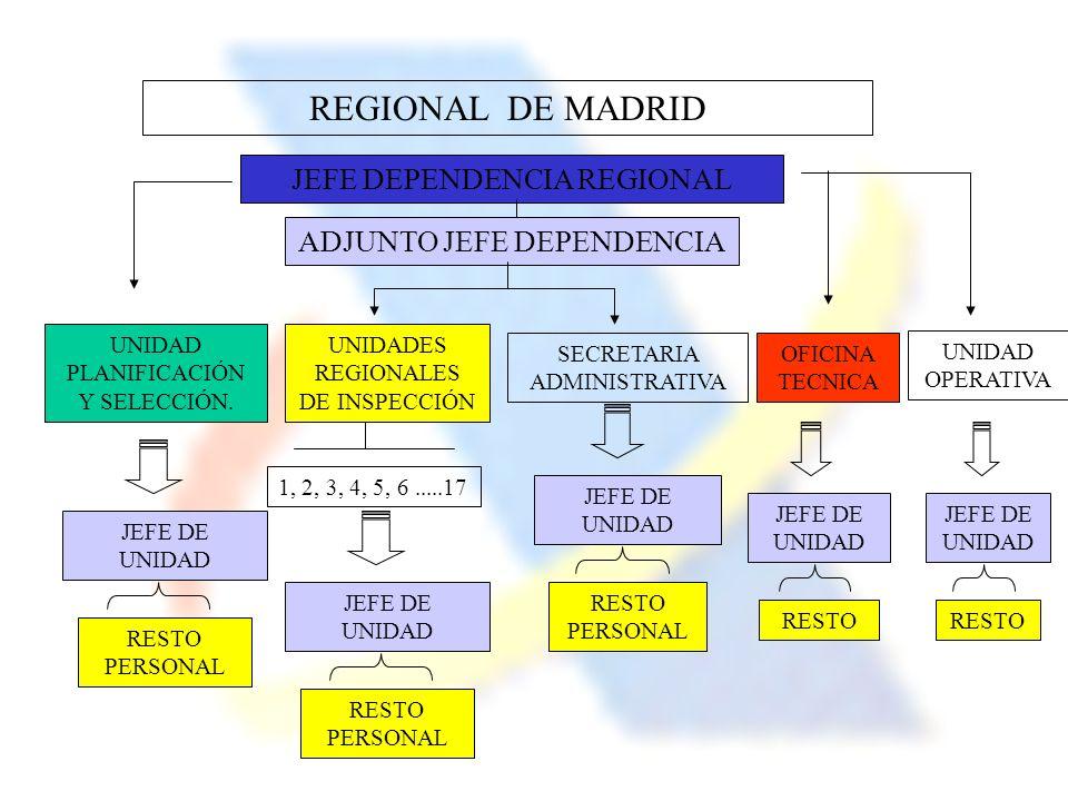 REGIONAL DE MADRID JEFE DEPENDENCIA REGIONAL ADJUNTO JEFE DEPENDENCIA