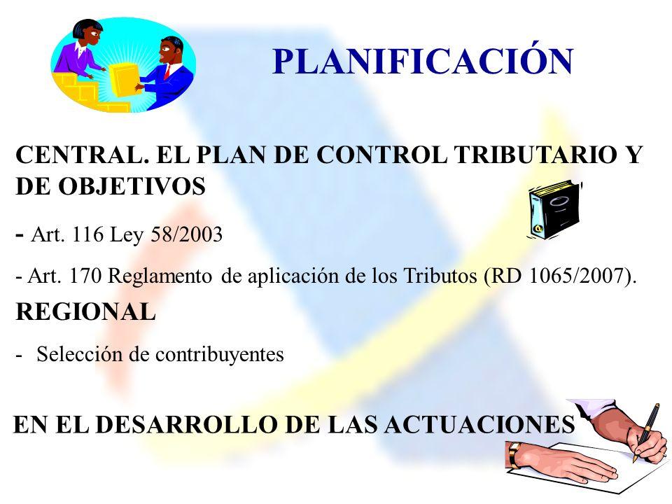 PLANIFICACIÓN CENTRAL. EL PLAN DE CONTROL TRIBUTARIO Y DE OBJETIVOS