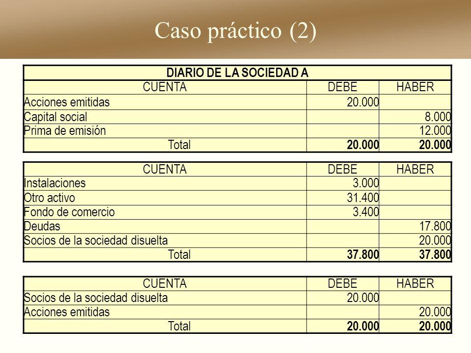 Caso práctico (2) DIARIO DE LA SOCIEDAD A CUENTA DEBE HABER