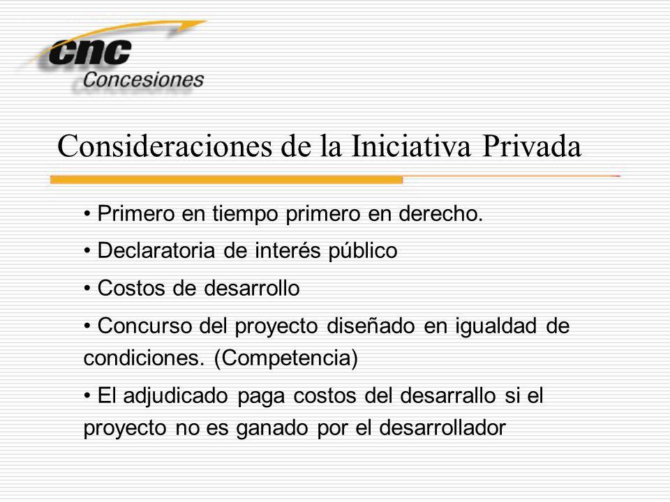 Consideraciones de la Iniciativa Privada