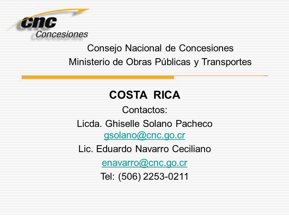 COSTA RICA Consejo Nacional de Concesiones