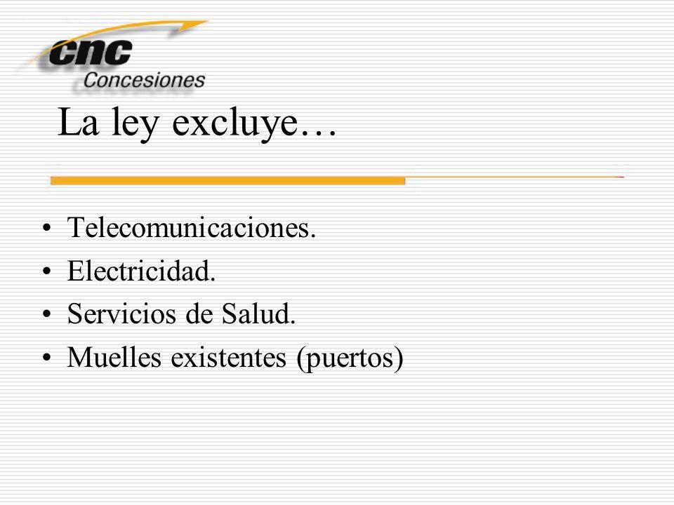 La ley excluye… Telecomunicaciones. Electricidad. Servicios de Salud.