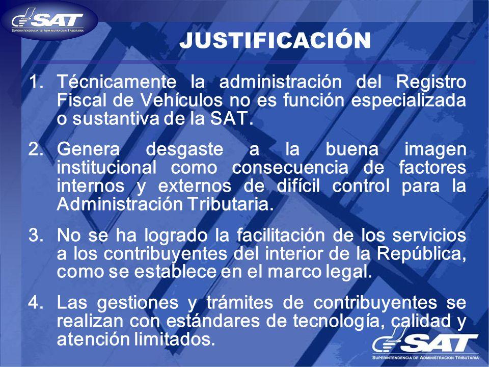 JUSTIFICACIÓN Técnicamente la administración del Registro Fiscal de Vehículos no es función especializada o sustantiva de la SAT.