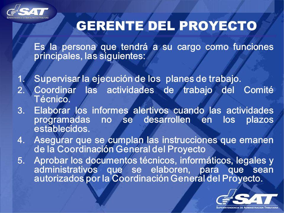 GERENTE DEL PROYECTO Es la persona que tendrá a su cargo como funciones principales, las siguientes: