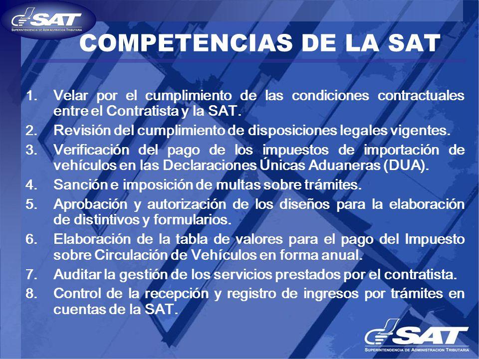 COMPETENCIAS DE LA SAT Velar por el cumplimiento de las condiciones contractuales entre el Contratista y la SAT.