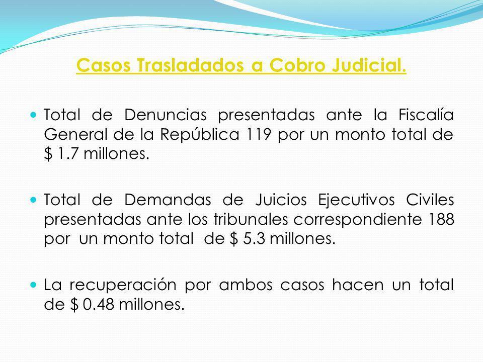 Casos Trasladados a Cobro Judicial.